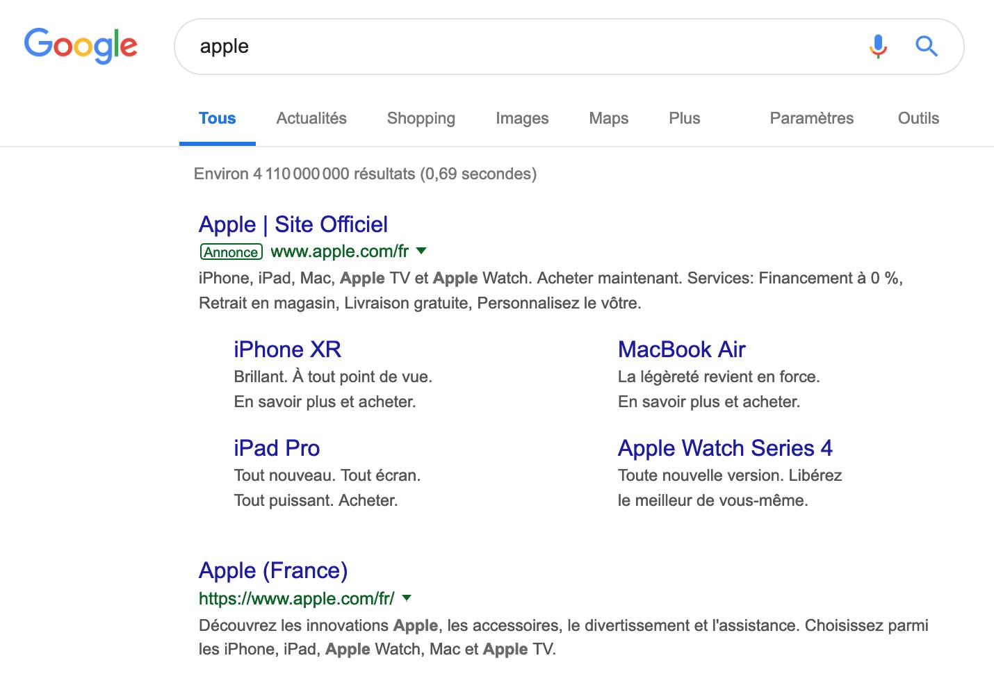 Publicité Google et résultat naturel