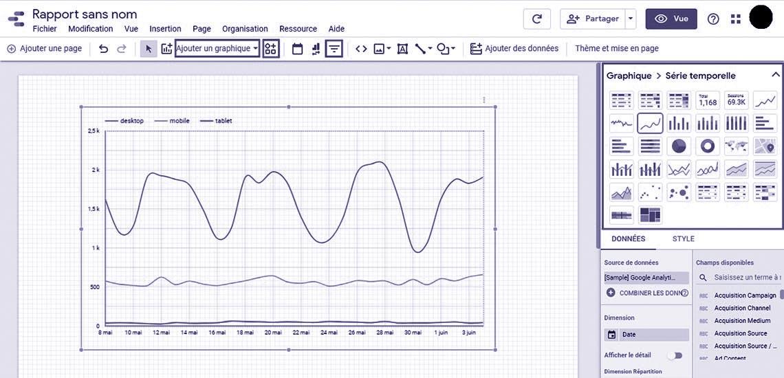 Visualisation des données d'un rapport Google Data Studio